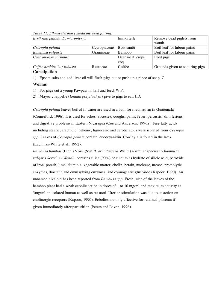 Table 11. Ethnoveterinary medicine used for pigsErythrina pallida, E. micropteryx                     Immortelle          ...