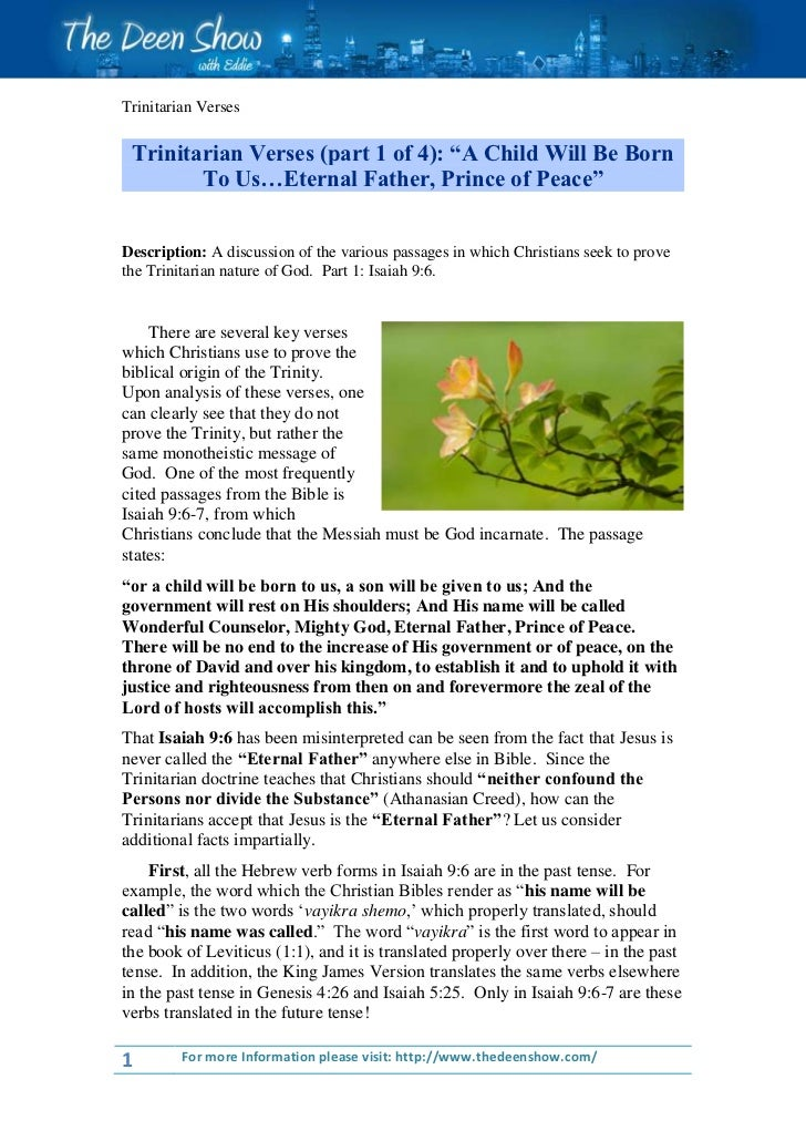 """Trinitarian Verses Trinitarian Verses (part 1 of 4): """"A Child Will Be Born        To Us…Eternal Father, Prince of Peace""""De..."""