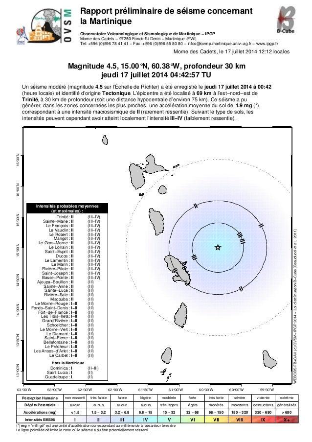 Rapport préliminaire de séisme concernant la Martinique Observatoire Volcanologique et Sismologique de Martinique − IPGP M...