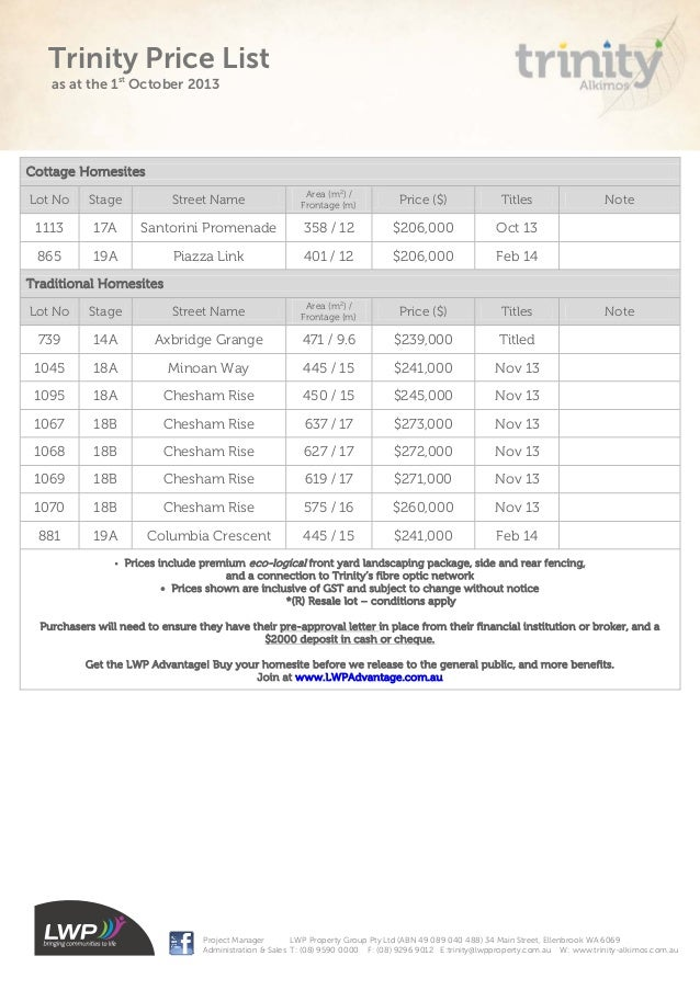 Trinity Current Stock Plan And Price List