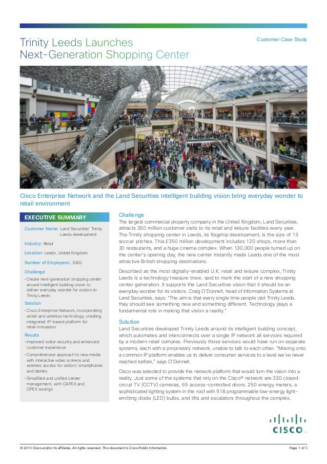 Trinity Leeds Launches Next‑Generation Shopping Center  Customer Case Study  Cisco Enterprise Network and the Land Securit...