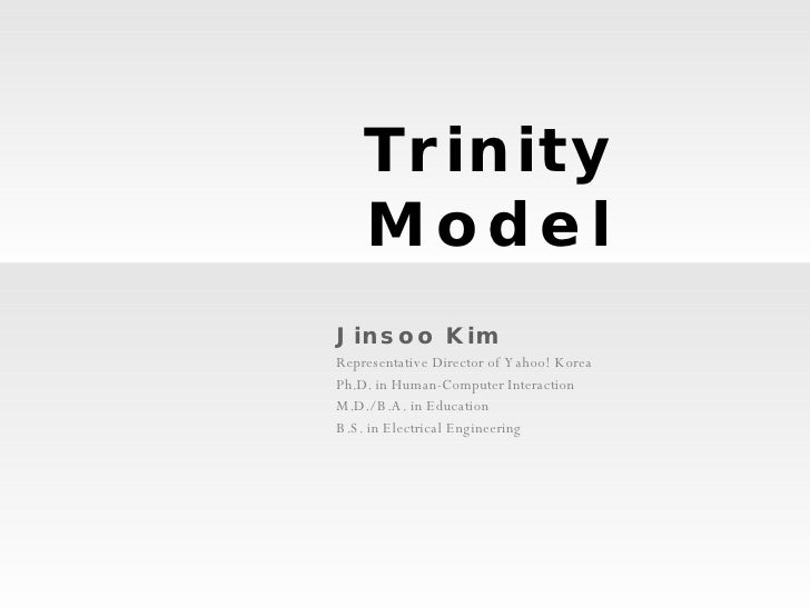 Trinity Model Jinsoo Kim Representative Director of Yahoo! Korea Ph.D. in Human-Computer Interaction M.D./ B.A. in Educati...