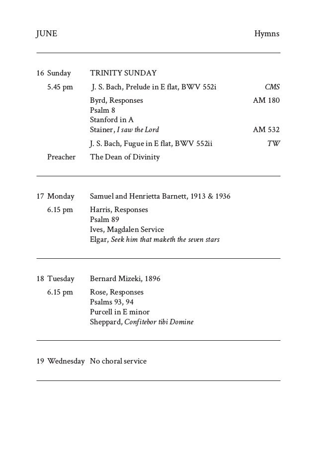 New College Chapel Trinity term 2019 music list