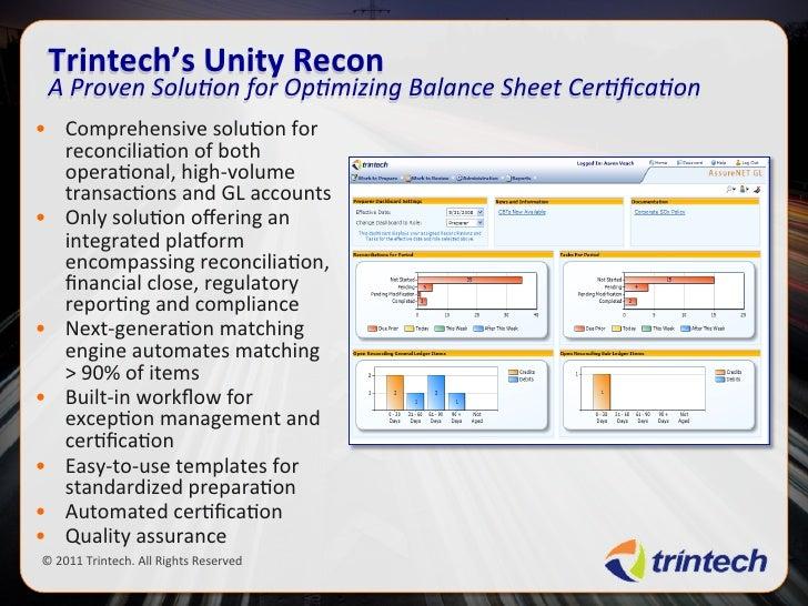 Trintech current strategies for optimizing bal sheet certification 8 …