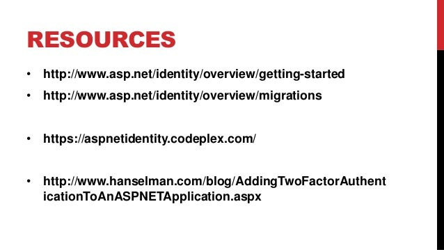 What's New in ASP.NET Identity - TRINUG Sept 2014