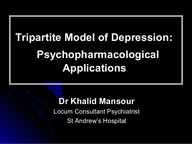 Tripartite Model of Depression:Tripartite Model of Depression: PsychopharmacologicalPsychopharmacological ApplicationsAppl...