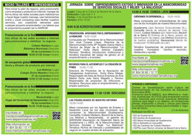 """Triptico Campana por el  emprendimiento exitoso e innovador en La Mancomunidad de servicios sociales y mujer """"La Maliciosa"""""""