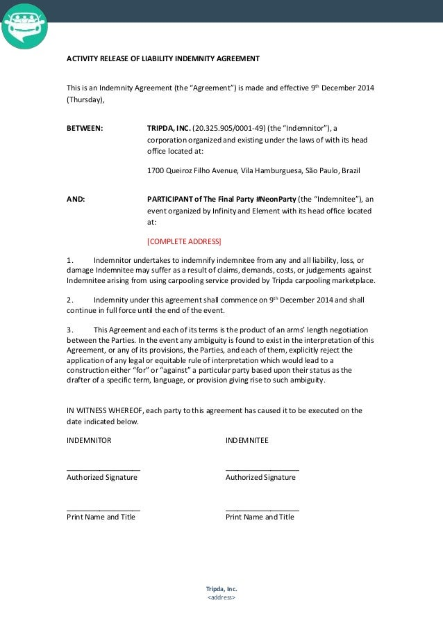 Liability Indemnity Agreement