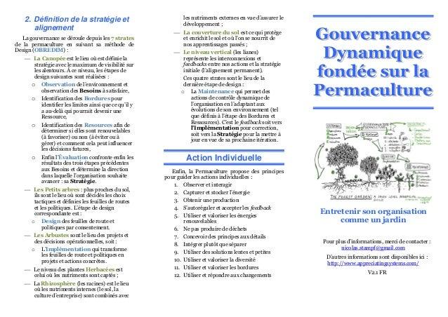 2. Définition de la stratégie et alignement La gouvernance se déroule depuis les 7 strates de la permaculture en suivant s...