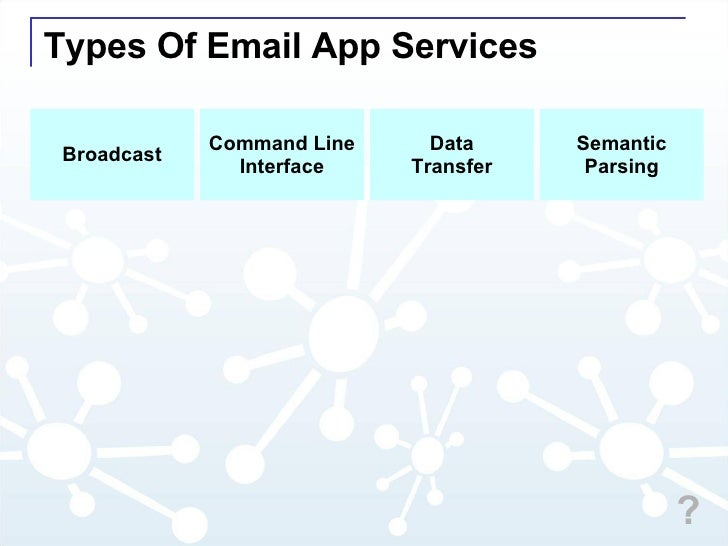 Types Of Email App Services Command Line Interface Data Transfer Semantic Parsing Broadcast ?