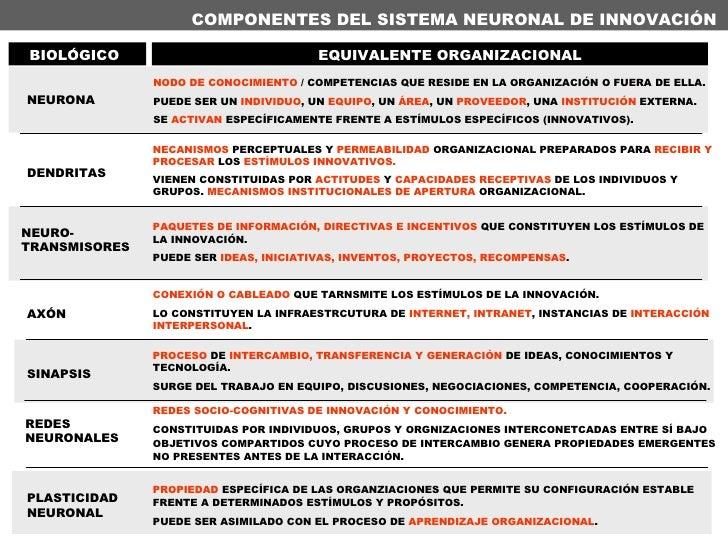 COMPONENTES DEL SISTEMA NEURONAL DE INNOVACIÓN DENDRITAS NEURONA NODO DE CONOCIMIENTO  / COMPETENCIAS QUE RESIDE EN LA ORG...