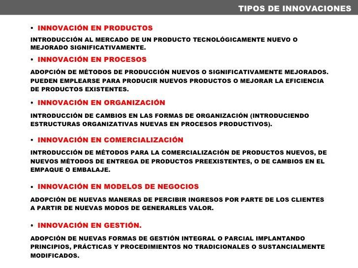 <ul><li>INNOVACIÓN EN PRODUCTOS </li></ul><ul><li>INTRODUCCIÓN AL MERCADO DE UN PRODUCTO TECNOLÓGICAMENTE NUEVO O MEJORADO...