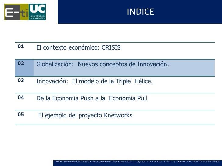 INDICE01   El contexto económico: CRISIS02   Globalización: Nuevos conceptos de Innovación.03   Innovación: El modelo de l...