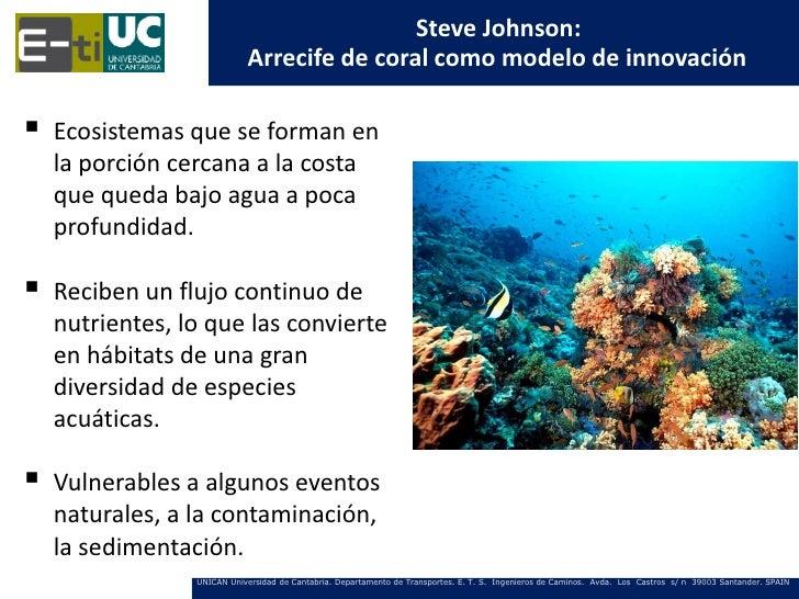 Steve Johnson:                            Arrecife de coral como modelo de innovación   Ecosistemas que se forman en    l...