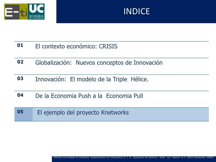 INDICE01   El contexto económico: CRISIS02   Globalización: Nuevos conceptos de Innovación03   Innovación: El modelo de la...