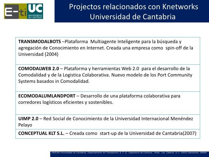 Projectos relacionados con Knetworks                                   Universidad de CantabriaTRANSMODALBOTS –Plataforma ...