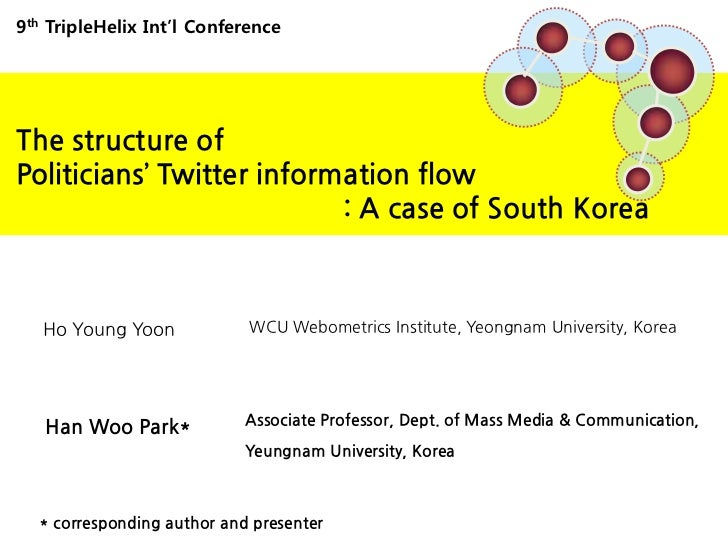 9thTripleHelix Int'l Conference<br />The structure of <br />Politicians' Twitter information flow <br />                  ...