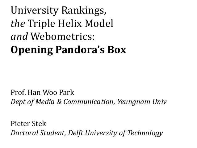 University Rankings, the Triple Helix Model and Webometrics: Opening Pandora's Box Prof. Han Woo Park Dept of Media & Comm...