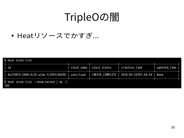 36 TripleOの闇 ● Heatリソースでかすぎ... $ heat stack-list +--------------------------------------+------------+-----------------+--...