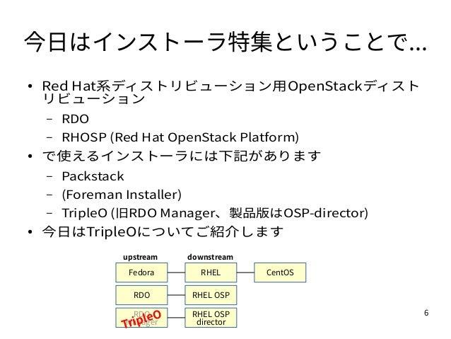 6 今日はインストーラ特集ということで... ● Red Hat系ディストリビューション用OpenStackディスト リビューション – RDO – RHOSP (Red Hat OpenStack Platform) ● で使えるインストーラ...