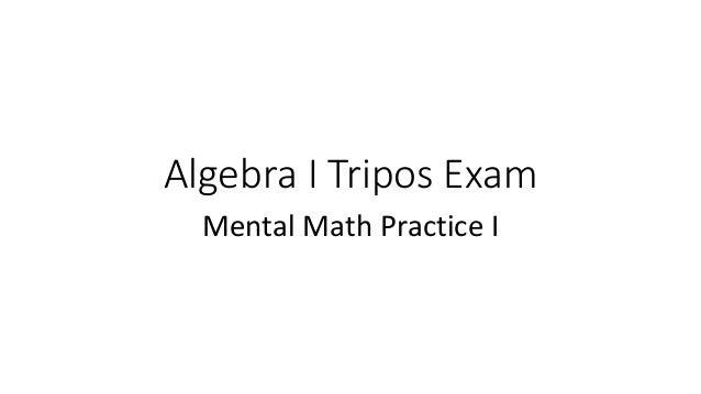 Algebra I Tripos Exam Mental Math Practice I