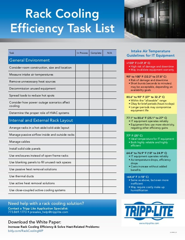 Rack Cooling Efficiency Task List >100° F (>37.8° C) •High risk of damage and downtime •May invalidate equipment warrant...