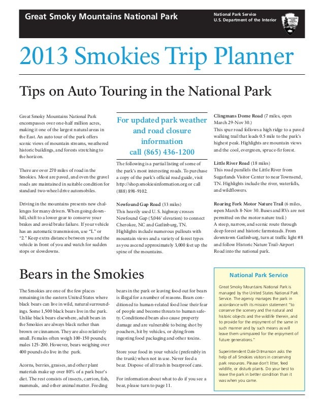 2013 Smokies Trip Planner National Park Service U.S. Department of the Interior Great Smoky Mountains National Park Tips o...