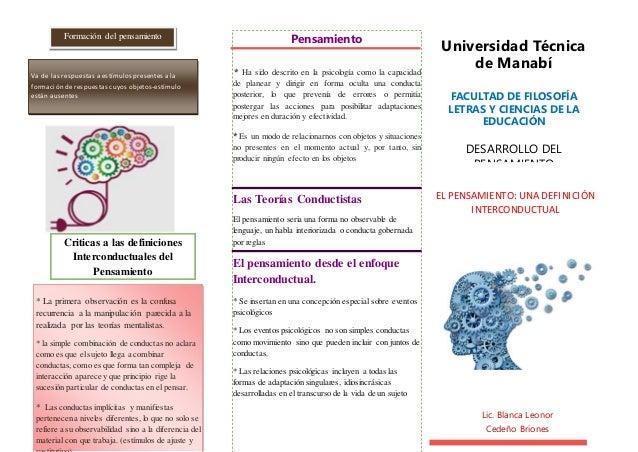 Universidad Técnica de Manabí FACULTAD DE FILOSOFÍA LETRAS Y CIENCIAS DE LA EDUCACIÓN DESARROLLO DEL PENSAMIENTO Pensamien...