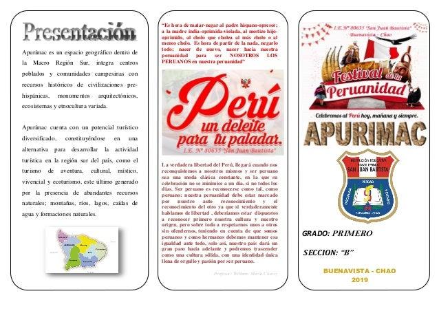 Apurímac es un espacio geográfico dentro de la Macro Región Sur, integra centros poblados y comunidades campesinas con rec...
