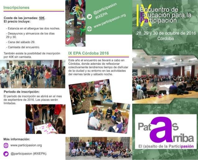 Triptico #IXEPA  IX Encuentro de Educación para la Participación. Córdoba