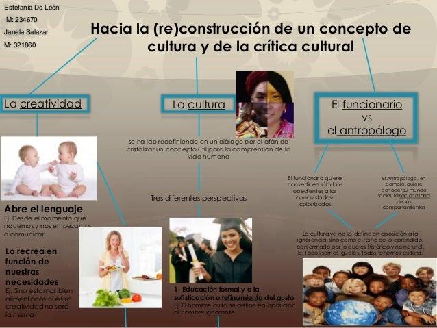 Hacia la (re)construcción de un concepto de cultura y de la crítica cultural Estefanía De León M: 234670 Janela Salazar M:...