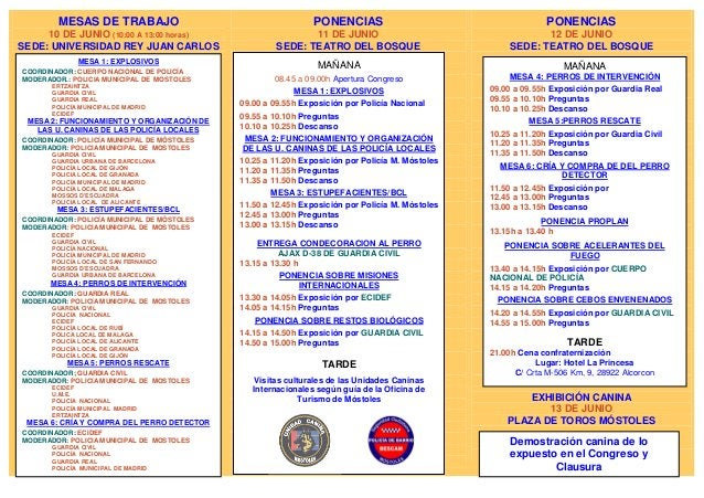 MESAS DE TRABAJO10 DE JUNIO (10:00 A 13:00 horas)SEDE: UNIVERSIDAD REY JUAN CARLOSPONENCIAS11 DE JUNIOSEDE: TEATRO DEL BOS...