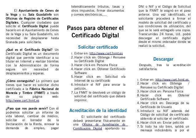 Triptico editable sobre c mo obtener el certificado for Oficina certificado digital