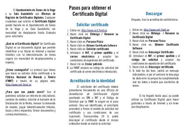 Triptico en pdf sobre c mo obtener el certificado digital for Oficina certificado digital