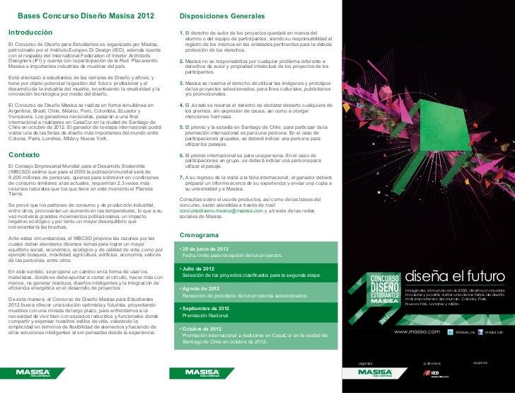 Bases Concurso Diseño Masisa 2012                                     Disposiciones GeneralesIntroducción                 ...