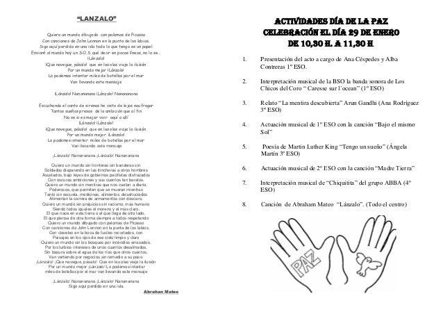 ACTIVIDADES DEL DÍA DE LA ACTIVIDADES DÍA DE LA PAZ CELEBRACIÓN EL DÍA 29 DE ENERO DE 10,30 H. A 11,30 H. 1. Presentación ...