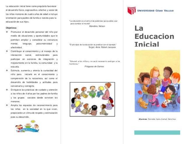 La educación inicial tiene como propósito favorecer el desarrollo físico, cognoscitivo, afectivo y social de los niños men...