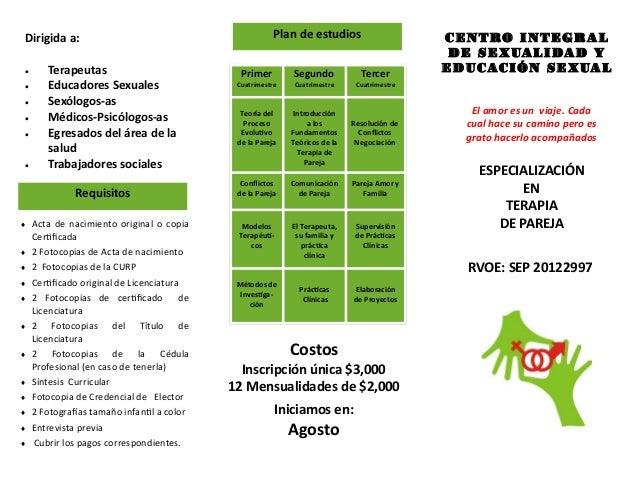 INICIA: FEBRERO 2013 ESPECIALIZACIÓN EN TERAPIA DE PAREJA Dirigida a:  Terapeutas  Educadores Sexuales  Sexólogos-as  ...