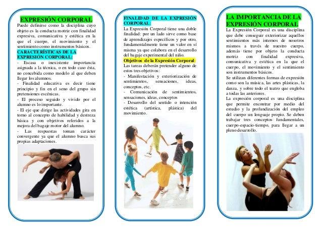 EXPRESIÓN CORPORAL                           FINALIDAD DE LA EXPRESIÓN                    LA IMPORTANCIA DE LAPuede defini...