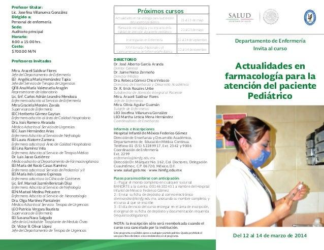 A Favor de la Salud Departamento de Enfermería Invita al curso Actualidades en farmacología para la atención del paciente ...