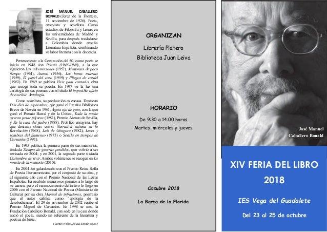 ORGANIZAN Librería Platero Biblioteca Juan Leiva HORARIO De 9:30 a 14:00 horas Martes, miércoles y jueves Octubre 2018 La ...