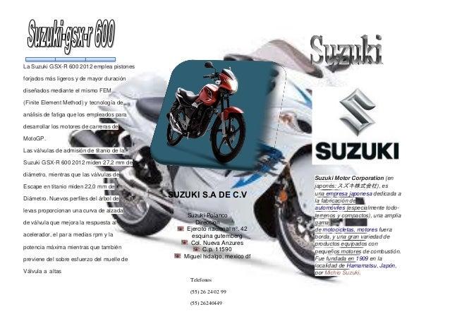 La Suzuki GSX-R 600 2012 emplea pistones forjados más ligeros y de mayor duración diseñados mediante el mismo FEM (Finite ...