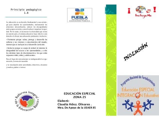 Principio pedagógico               1.8La educación es un derecho fundamental y una estrate-gia para ampliar las oportunida...
