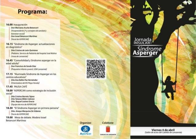 Programa Jornada Insular Síndrome Asperger Lanzarote ASPERCAN 2014
