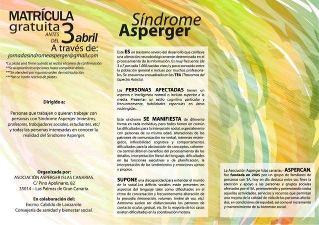 Programa Jornada Insular Síndrome Asperger Lanzarote ASPERCAN 2014 Slide 2