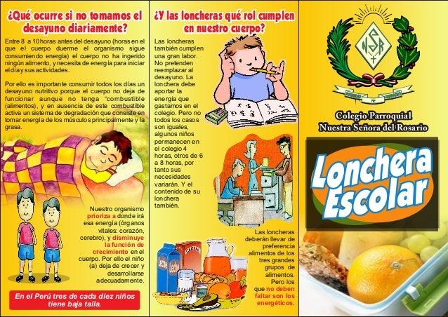 Colegio Parroquial Nuestra Señora del Rosario ¿Qué ocurre si no tomamos el desayuno diariamente? Entre 8 a 10 horas antes ...