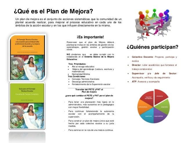 ¿Qué es el Plan de Mejora? Un plan de mejora es el conjunto de acciones sistemáticas que la comunidad de un plantel acuerd...