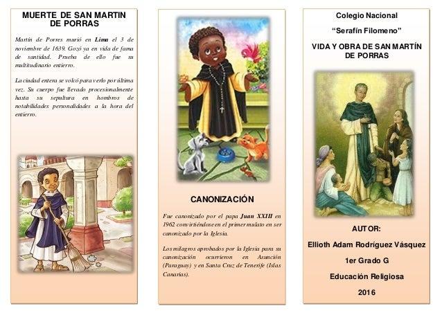 MUERTE DE SAN MARTIN DE PORRAS Martín de Porres murió en Lima el 3 de noviembre de 1639. Gozó ya en vida de fama de santid...