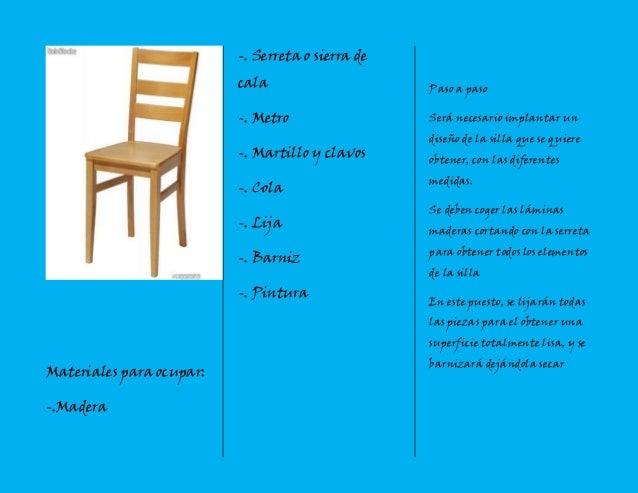 Triptico silla de madera - Materiales para tapizar una silla ...