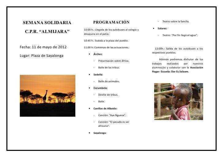 PROGRAMACIÓN                                  -   Teatro sobre la familia. SEMANA SOLIDARIA                            10:...